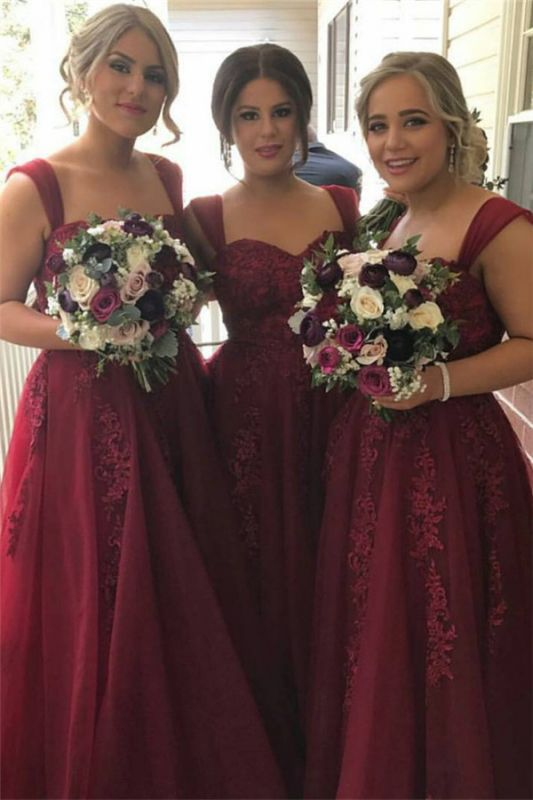 Burgundy Lace-Appliques Sweetheart Tulle Straps summer Bridesmaid Dress