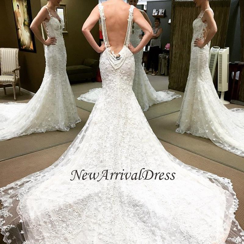 063e720e0c4d5 Spaghetti-Straps Beaded Lace Backless Mermaid Glamorous Wedding Dresses  [Item Code: QQ0012]