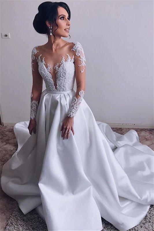 Robes de mariée en satin élégantes à manches longues   Robes De Mariée Pas Cher 2020 Dentelle A-line