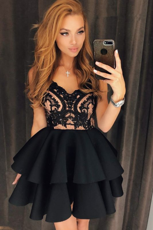 Modest Straps Ruffled Lace Homecoming Dress | Short Party Gown