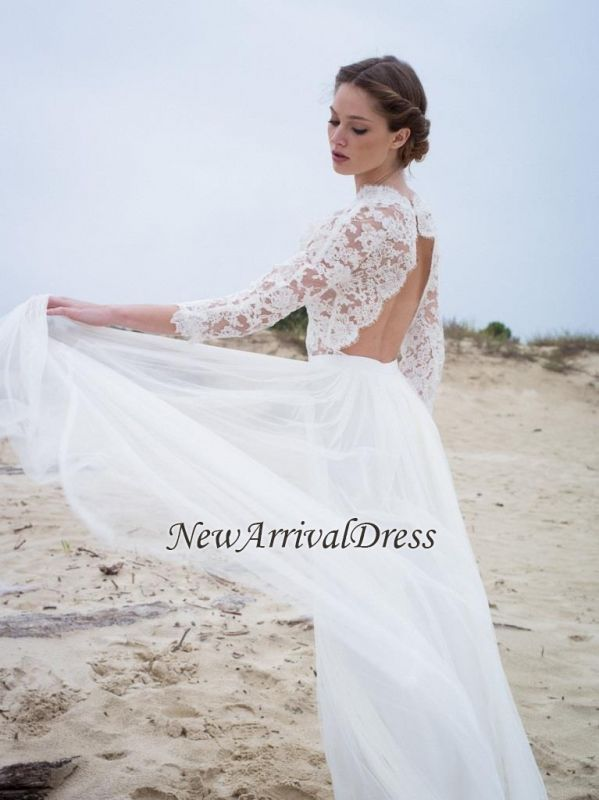 V Neck Lace A Line 3 4 Length Sleeves Modern Simple Wedding Dress