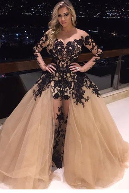 a7bd6109a68a2 Delicate Long Sleeve Lace Appliques Off-the-shoulder Ball Gown Evening Gown