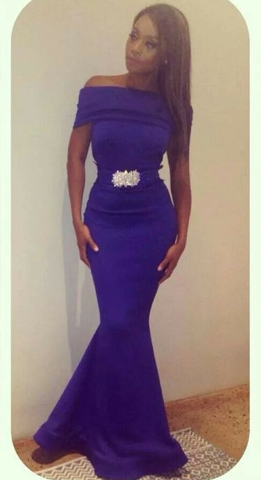 Purple Off-the-Shoulder Mermaid Evening Gowns Beading Sash Belt Satin Long Prom Dresses