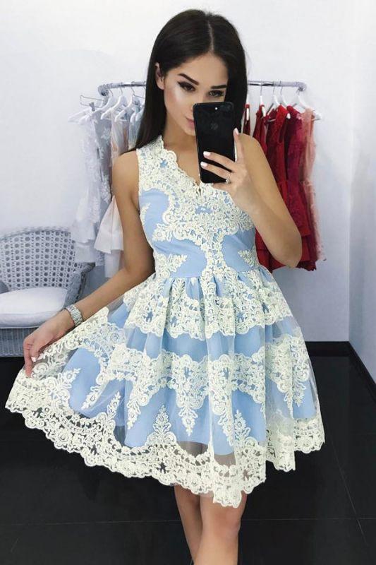 Newest Lace Straps Zipper Sleeveless Short Homecoming Dress