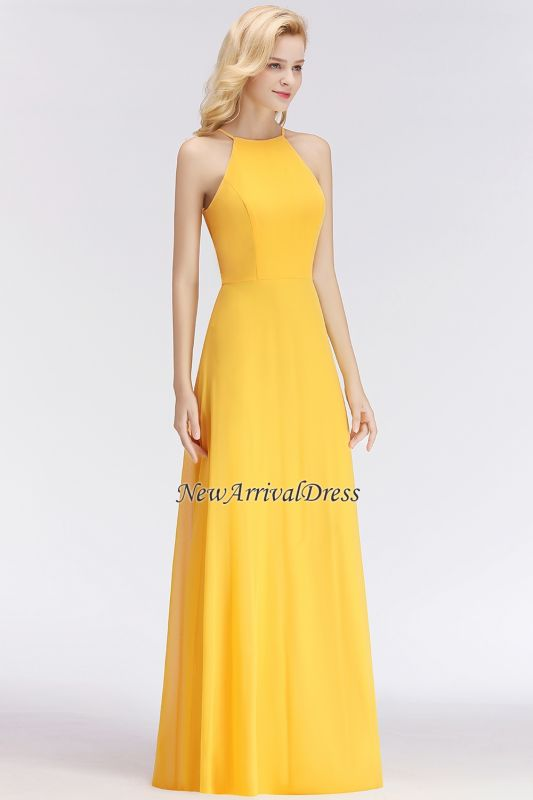0c94954bb30e2 Sleeveless Fashion Chiffon Sheath Yellow Long Bridesmaids Dresses [Item  Code: D153690520604743]