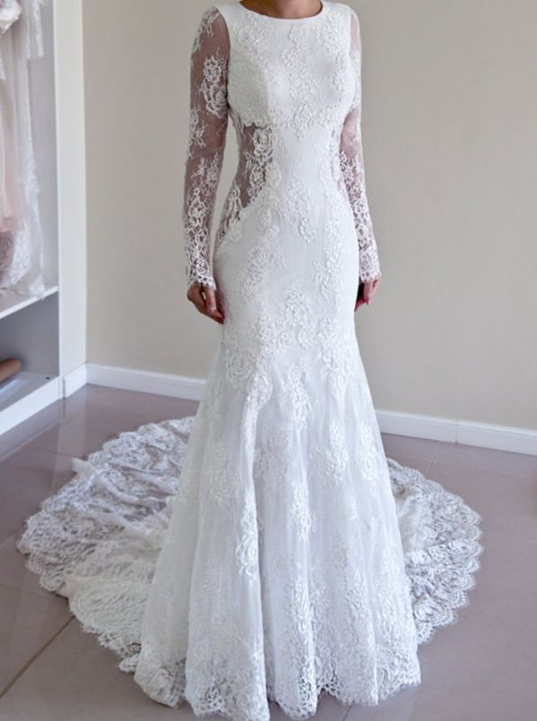 Backless Mermaid Gorgeous Lace Long Sleeve Sweep Train Wedding Dresses Cheap Online