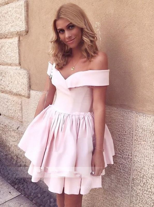 Newest Pink Off-the-shoulder Short Homecoming Dress | A-line Party Gown
