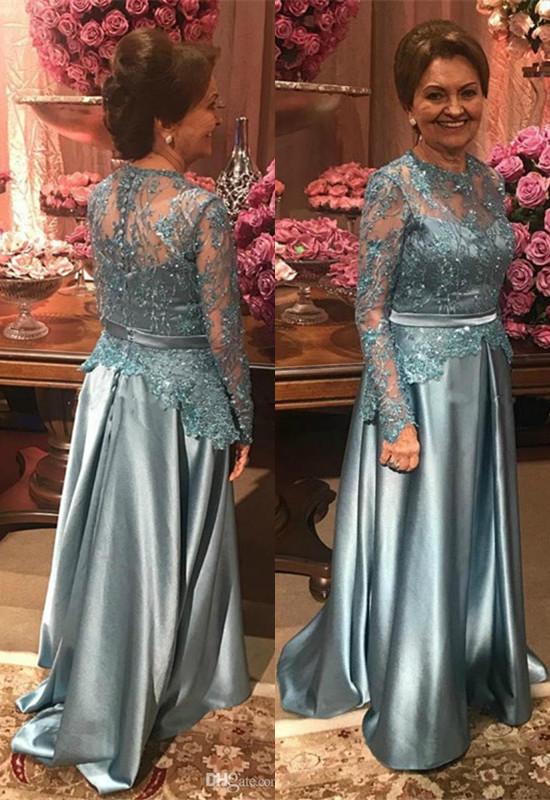 Elegant Lace Appliques A-line Long Sleeve Mother Of Bride Dress