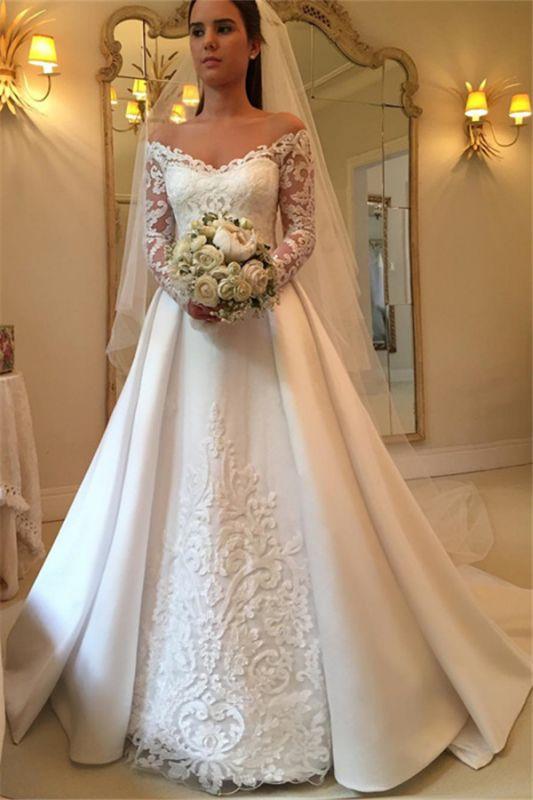 Off The Shoulder Long Sleeve Wedding Dresses   Satin Elegant Bridal Gowns Cheap Online