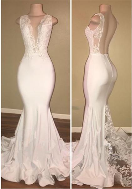 New Arrival White Open Back V-neck Lace Mermaid Sleeveless Prom Dresses Cheap