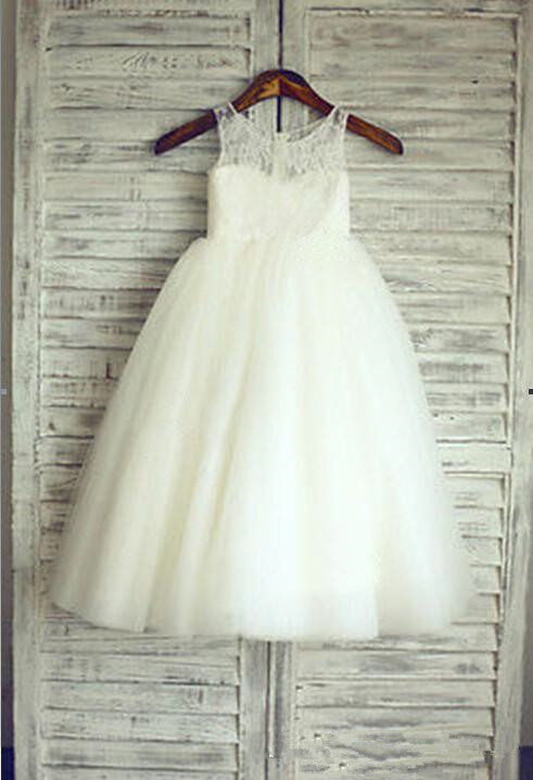 White A-Line Tulle Flower Girl Dresses Lace Sleeveless Party Gowns