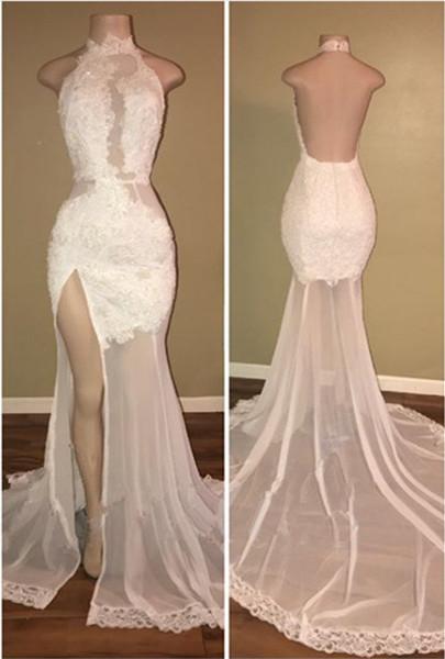 Delicate White Front Split Lace Open Back Prom Dresses Cheap BA8228