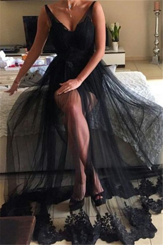 Tulle Long Lace Black Sexy V-Neck Prom Dress | Sheer Prom Dress