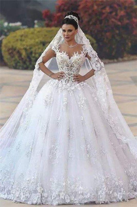 Custom Made Princess Sleeveless Luxurious Lace Wedding Dresses Cheap