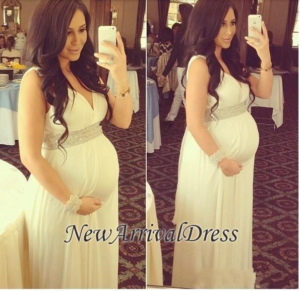 Newest Beads V-neck Sleeveless A-line Long Maternity Prom Dress