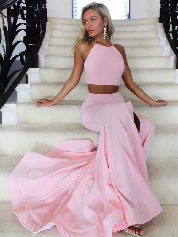 Simple Pink Two Piece Jewel Formal Dress | Cheap Prom Dress