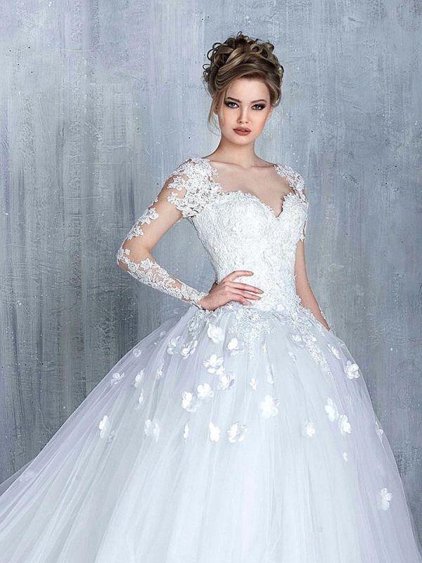 Empire Brautkleider Mit Ärmel Herz Tüll Weiß Hochzeitskleider Mit Spitze Brautmoden