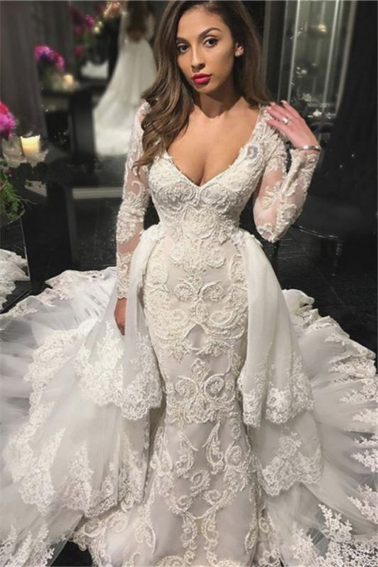 V-neck Beads Lace Appliques Wedding Dresses with Sleeves   Mermaid Overskirt Bridal Dresses