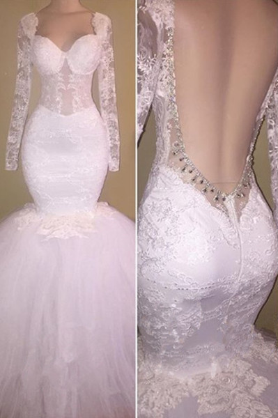 8f769494a27 Long Sleeve White Lace Mermaid Beads Prom Dress