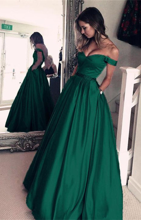 Elegant Off-the-Shoulder Evening Dress |Green Long Prom Dress