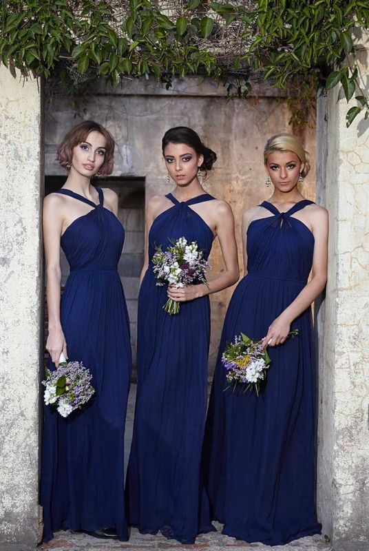 Modern Halter Royal Blue Long Chiffon Wedding Party Bridesmaid Dress