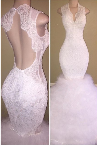 New Arrival White Lace Straps Sleeveless Ruffles Prom Dresses Cheap