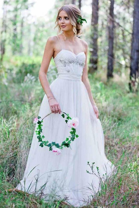 Tulle A-Line Custom Made Sexy Spaghetti Straps Beadings Simple Wedding Dresses