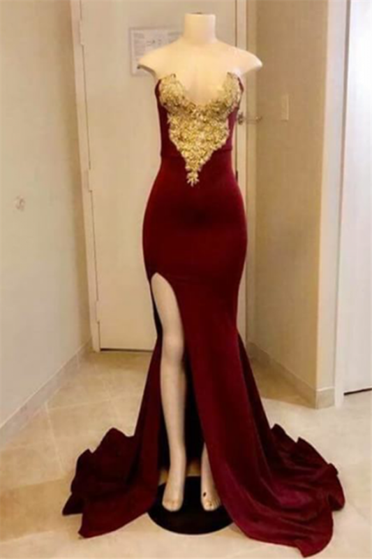 Strapless Mermaid Burgundy Long Prom Dresses Cheap with Slit   Gold Appliques Side Slit Evening Gowns