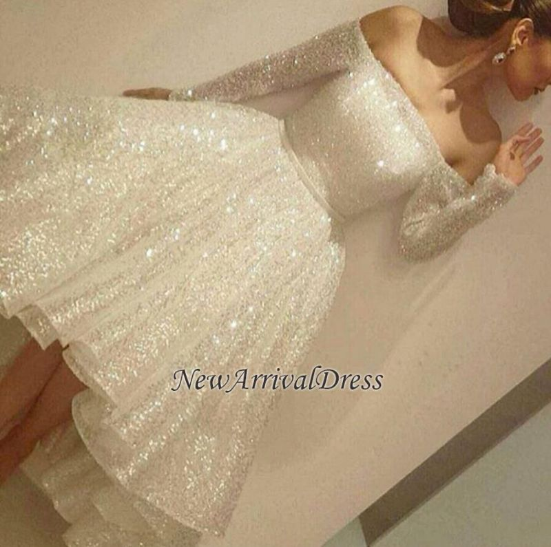 Bling Short Tiers-Skirt Long-Sleeves Off-the-Shoulder Prom Dresses