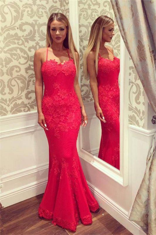 Sexy Sweetheart Spaghetti Straps Floor-length Appliques Mermaid Prom Dresses