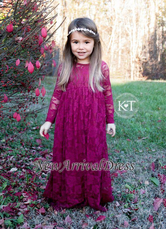 Cute Fuchsia Sleeves Long Flower Lace Girl Dresses