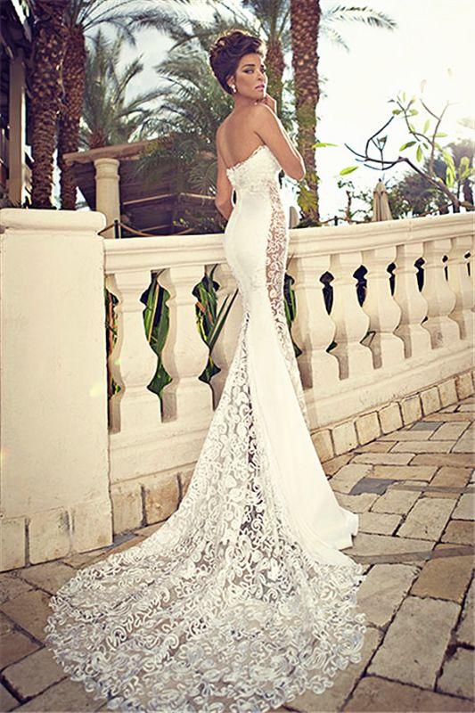 Sweetheart White Lace Wedding Dresses 2018 Mermaid Zipper Sleeveless Bridal Dresses