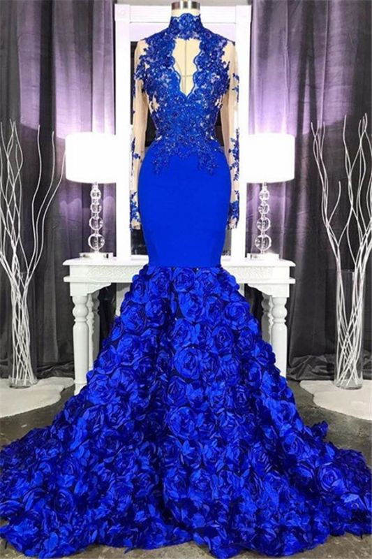 Royal Blue Long Sleeve Mermaid Long Prom Dresses Cheap Online | Lace Appliques Formal Evening Gowns
