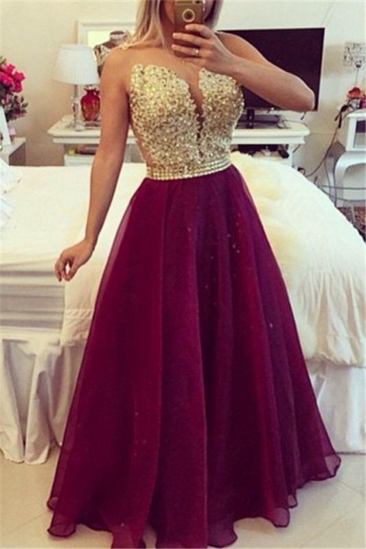 Gold Lace Applique Burgundy Prom DressesSheer Tulle Floor Length Graduation Dress BT00