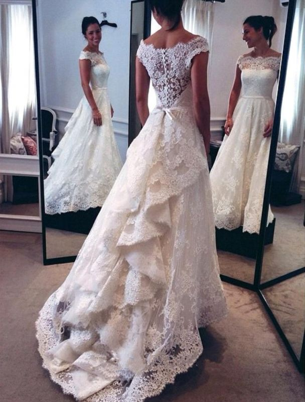 Sexy Cheap Online Lace New Arrival A-line  Cap Sleeve Wedding Dresses