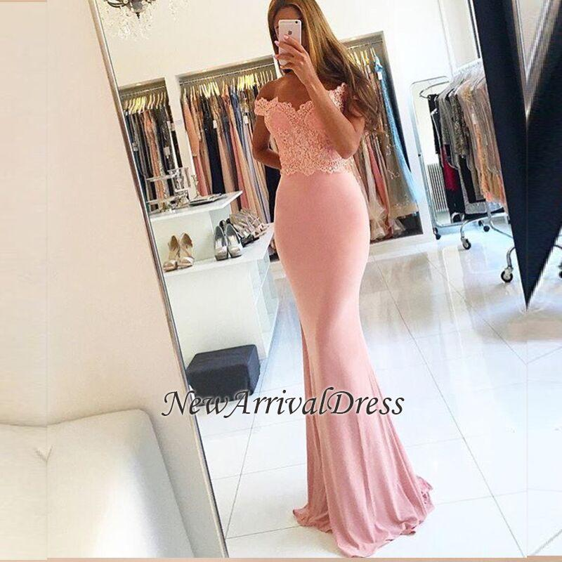 Sheath Spandex Cheap Off-the-shoulder Sexy Lace Beading Long Pink Evening Dresses