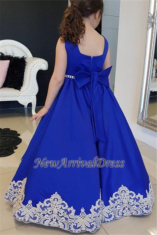 Royal Straps Blue A-Line Flower Appliques Floor-length Girl dresses