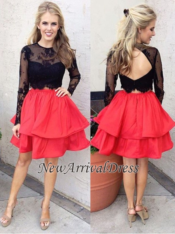 Red A-line Black Lace Long-Sleeves Two-Piece Chic Homecoming Dresses