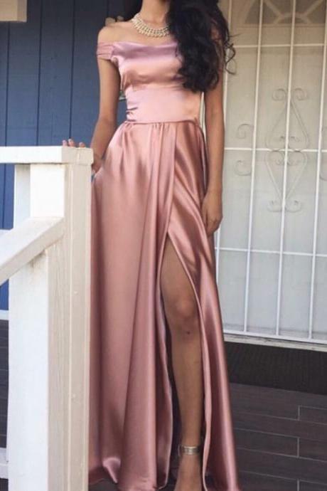 Off-the-Shoulder A-line Rose Front-Slit Pink Shiny Prom Dresses