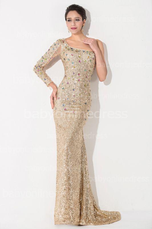 One Shoulder Gold Prom Dress