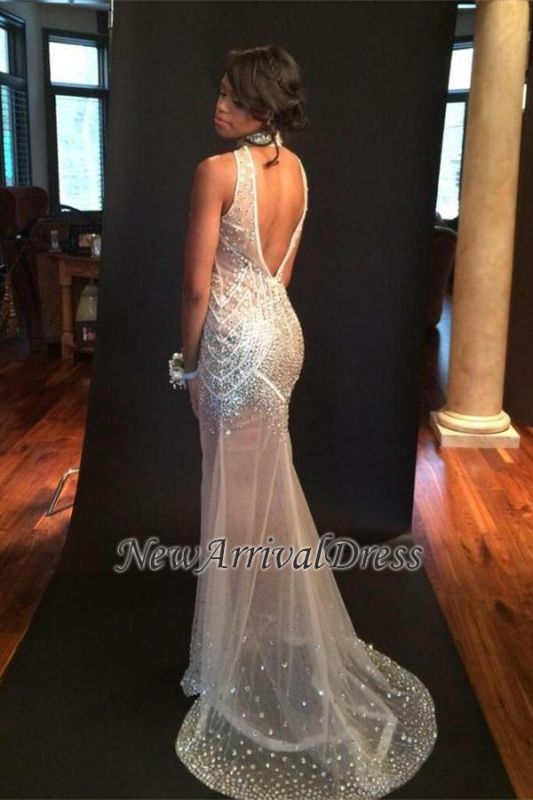 Open-Back Sexy Crystals Sequins Sheer-Tulle Halter Keyhole Sleeveless Mermaid Evening Dress