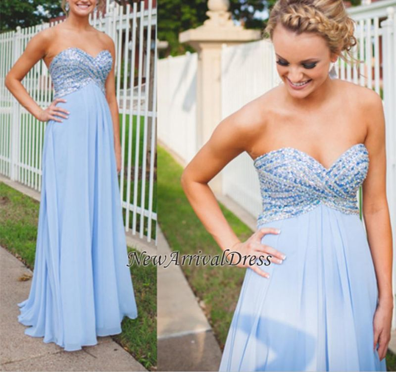 Long Empire A-Line Light-Blue Sweetheart Chiffon Crystal Prom Dresses