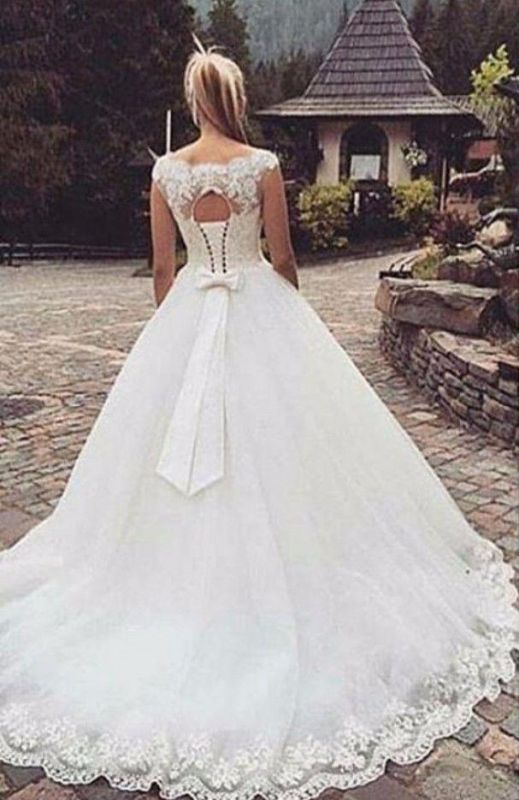 Cap Sleeve Lace-Up Bowknot Back Ball Gown Wedding Dresses Cheap
