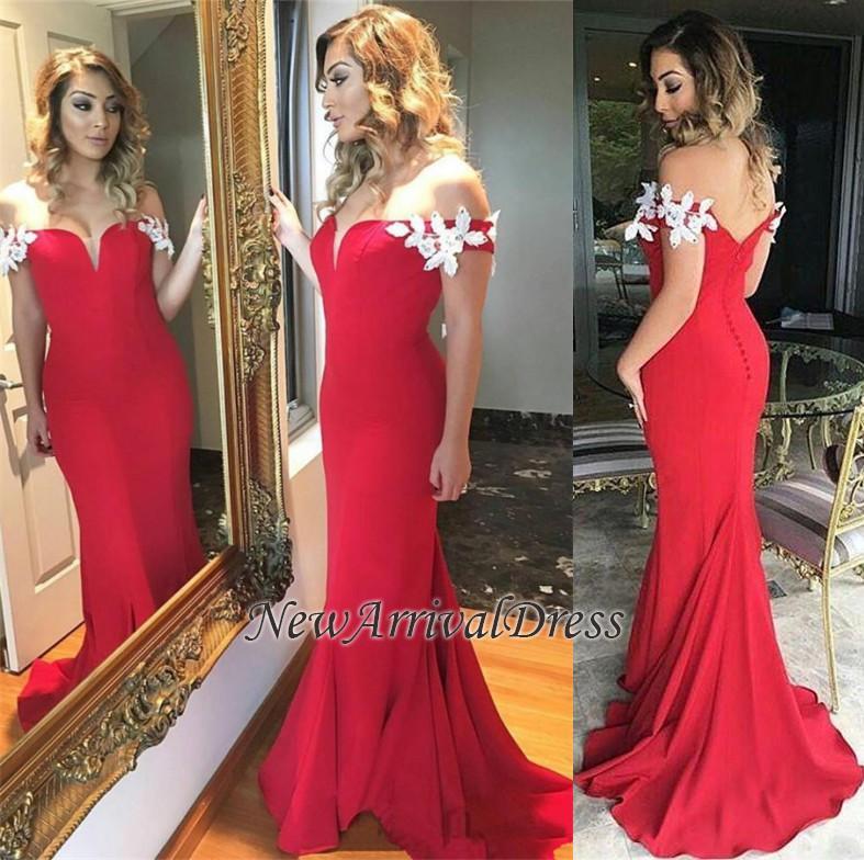 Elegant Ruffles Sheath Red Off-the-shoulder Open-Back Long White-Appliques Evening Dress