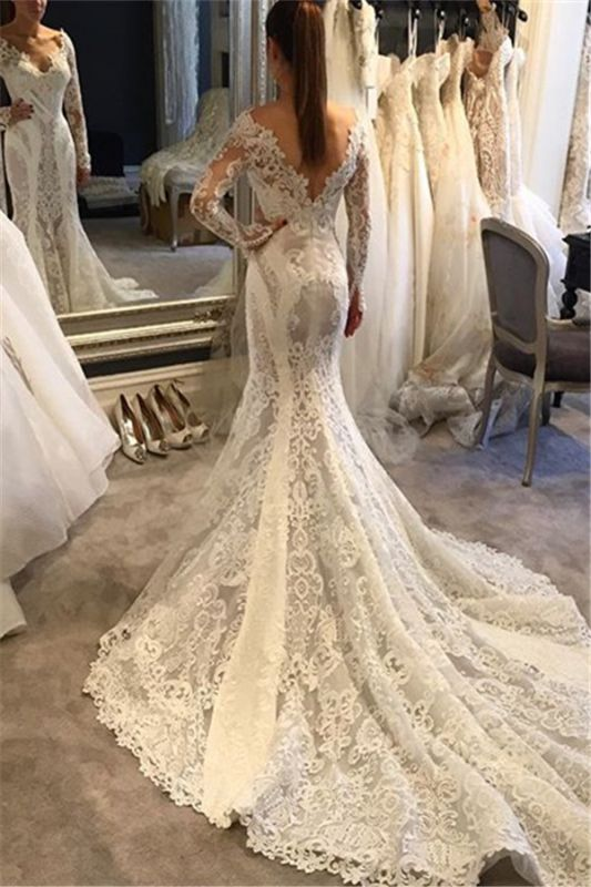 Vintage Lace Sexy Open Back Mermaid Wedding Dresses with Sleeves with Court Train