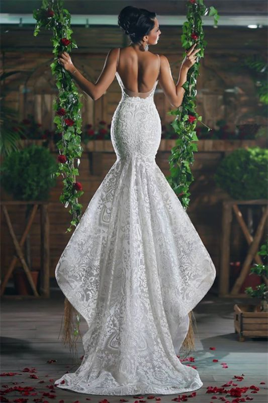 V-neck Mermaid Wedding Dresses Cheap | Lace Elegant Ope Back Tulle Straps Bridal Gowns