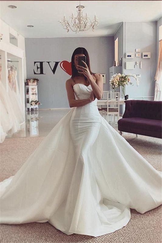 Meerjungfrau trägerlose Brautkleider 2021   Ärmellose weiße Brautkleider Online