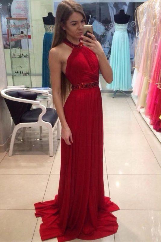 5b8fd020d23 Modest Red Chiffon Sleeveless Halter Beads A-line Long Prom Dress  Item  Code  D153793122053725