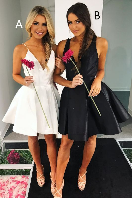 Sexy V-neck Sleeveless A-line Homecoming Dress   Knee-length Party Gown