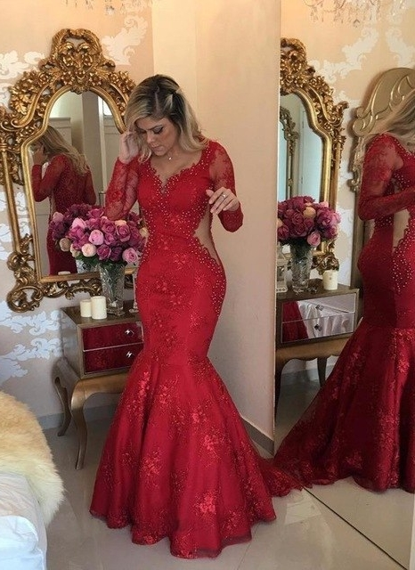 Luxury Sexy Mermaid Lace Evening Dresses | V-Neck Long Sleeves See Through Prom Dresses